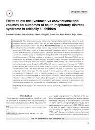 Pdf Original Article Effect Of Low Tidal Volumes Vs