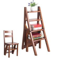convertible multi functional four step library ladder chair in 3 color library furniture folding