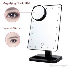 adjule 20 leds lighted makeup mirror touch screen portable magnifying vanity tabletop lamp cosmetic mirror make up tool magnified mirror magnifying