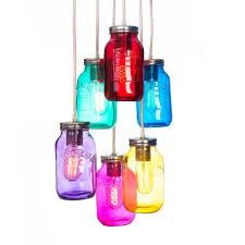 6 way kilner multi coloured jam jar cer ceiling pendant free uk p p