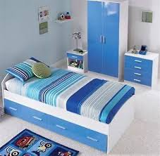 Details about Blue / White High Gloss Furniture Bedroom Single ...