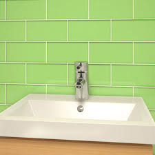 Powder Room Green Subway Tile in Glass
