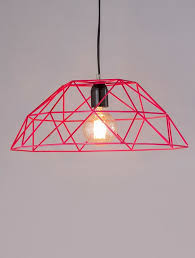 lamps pink iron wire pendant lamp with powder coated finish h 6in jaypore