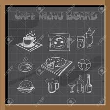 Chalkboard Menu Board Hand Drawn Cafe Menu Board Signs And Food Collection On Chalkboard