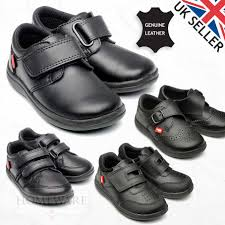 boys back to school shoes black leather sizes uk 6 infant to uk 12 child in black easy slip on quick fasting
