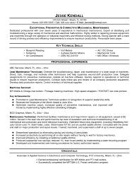 43 Last Sample Resume For Maintenance Technician Ht E44432