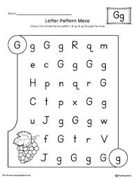Letter Pattern Maze Letter G Worksheet