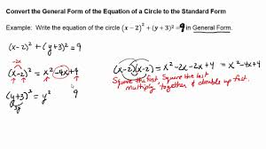 circles convert standard form to general form
