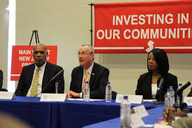 phil murphy center speaks during a round table discussion of the main street new jersey program at the montclair fire headquarters on thursday april 12