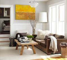 White Walls Decorating Yellow Sofa With Tan Walls Brown Leather Sofa And Natural Wooden