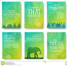 Satz Des Thailand Landverzierungs Illustrationskonzeptes Kunst