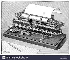 stock photo office office equipment typewriters typewriter by merritt 1891 wood engraving by poyet 19th century 19th century writin century office equipment