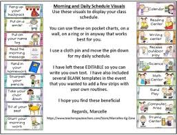 Classroom Routine Chart Daily Morning Routine Visual Schedule And Daily Routine Visuals Editable
