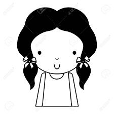 黒いアイコンかわいいの上半身は少し女の子ベクトル イラスト グラフィック デザイン