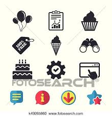 Birthday Party Icons Cake With Ice Cream Symbol Clipart