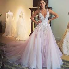 pink wedding gowns. A Line V Neck Court Train Open Back Pink Wedding Dress with