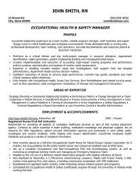 Occupational Health And Safety Resume Sample