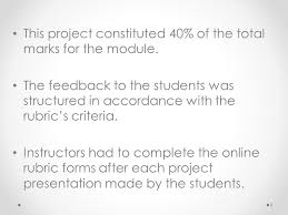 this project constituted 40 of the total marks for the module