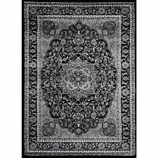rugs oriental traditional black grey white area rug and 5x7