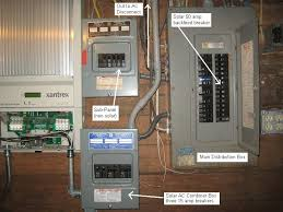 added 3kw solar aray out inverter distribution wiring the next photo shows how the inverters are connected to the distribution panel i combined the 240v ac outputs via three 15 amp dual