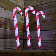 Christmas Candy Cane Garden Stake Lights Set Of 4 Set Of 3 60cm Led Acrylic Christmas Garden Candy Cane Stake Lights In Cool White