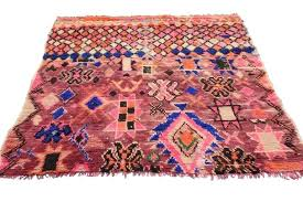 hand knotted vintage rug with modern tribal style in hot pink for moroccan uk id