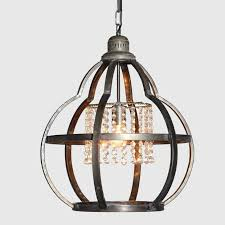 metal cage pendant light with crystals