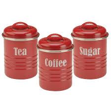 Retro Kitchen Storage Jars Tea Coffee Sugar Canister Set Red Vintage Style Kitchen Jars