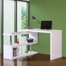 homcom modern corner rotating combo l shaped computer desk storage shelves white