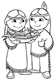 Thanksgiving Coloring Pages Indian Coloringstar