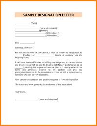 Sample Of Resignation Letter Sample Resignation Letter Simple