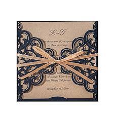 Amazon Com Wishmade Rustic Laser Cut Wedding Invitations Cards Diy
