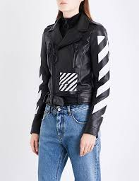 off white c o virgil abloh black white biker jacket for women
