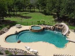 Backyard Pool With Slide Also Diving Board Features And Natural