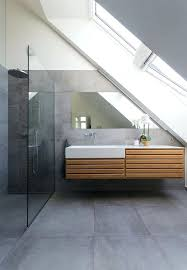 modern bathroom with large concrete tiles on the floor and walls tile ideas