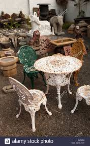 india kerala kochi mattancherry jewtown old cast iron garden furniture and features in architectural reclamation yard