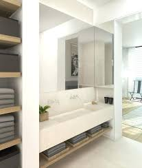 poplar wood open shelving for wall hung vanity bathroom mirror with storage ideas