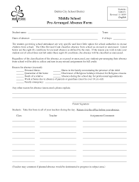 Absence Form Pre Arranged Absence Form Sells Middle School Pto