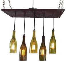5 wine bottle chandelier antique white base no bulbs suspended