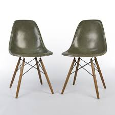 hermin miller chairs. Olive Green Pair (2) Herman Miller Vintage Eames DSW Side Shell Chairs Hermin R