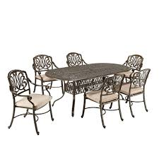 fl blossom taupe 7 piece patio dining set with beige cushions