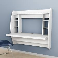 Prepac Furniture Transitional White Floating Desk