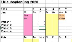 10 urlaubsplan excel kostenlos zeitplanvorlagen. Kostenlos Urlaubsplaner Fur Die Jahre 2020 2021 2022 Und 2023 Fur Excel Google Etc Vgsd Selbststandig Vereint