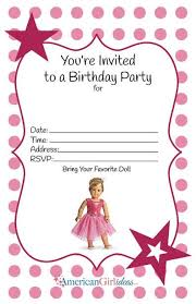 American Girl Birthday Party Invitations Free Printables