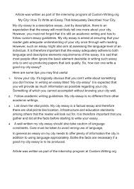 good descriptive essays calam atilde copy o my city how to write  calam atilde copy o my city how to write an essay that adequately describes calamatildecopyo my cover letter descriptive essay introduction examples