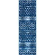 moroccan blythe blue 2 ft 8 in x 8 ft runner rug