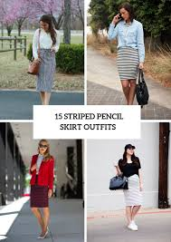 Light Blue Striped Skirt 15 Spring Outfits With Striped Pencil Skirts Styleoholic