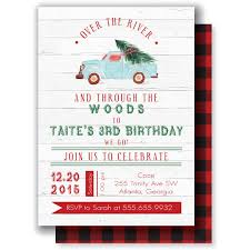Christmas Birthday Party Invitations Buffalo Plaid Lumberjack Over The River And Through The Woods