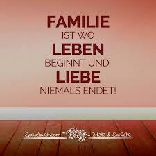 Familie Ist Wo Leben Beginnt Und Liebe Niemals Endet Spruch über