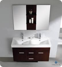 picture of fresca vilanie 48 wenge brown modern double sink bathroom vanity w mirror